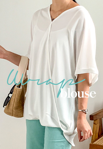 31692 - 宽松紧身裹身女式衬衫(3色)/〜XL尺寸